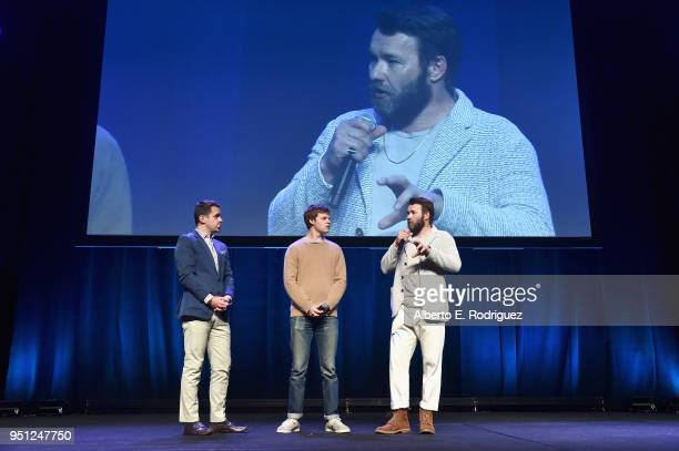Actors Dave Karger Lucas Hedges and director Joel Edgerton speak onstage during the CinemaCon 2018 Focus Features Presentation at Caesars Palace...