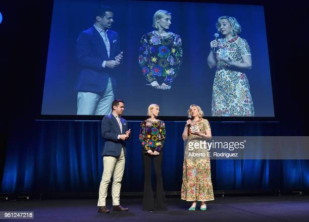 Actors Dave Karger Saoirse Ronan and director Josie Rourke speak onstage during the CinemaCon 2018 Focus Features Presentation at Caesars Palace...