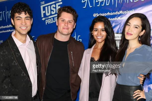 Actors Davi Santos Matt Shively Gigi Zumbado and Jessika Van attend the unauthorized musical parody of Scissorhands A Musical at Rockwell Table and...