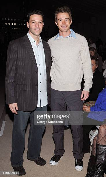 Actors David Alan Basche and Robert Buckley from Lipstick Jungle attend Perry Ellis Fall 2008 during Mercedes Benz Fashion Week at Bryant Park on...