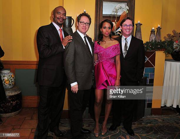 Actors David Alan Grier James Spader Kerry Washington and Richard Thomas attend the Broadway opening of 'Race' after party at the Redeye Grill on...