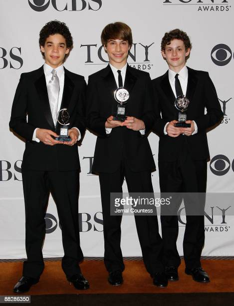 """Actors David Alvarez ,Kiril Kulish and Trent Kowalik, winners of Tony Award for Best Musical for """"Billy Elliot, The Musical"""" in the press room at the..."""