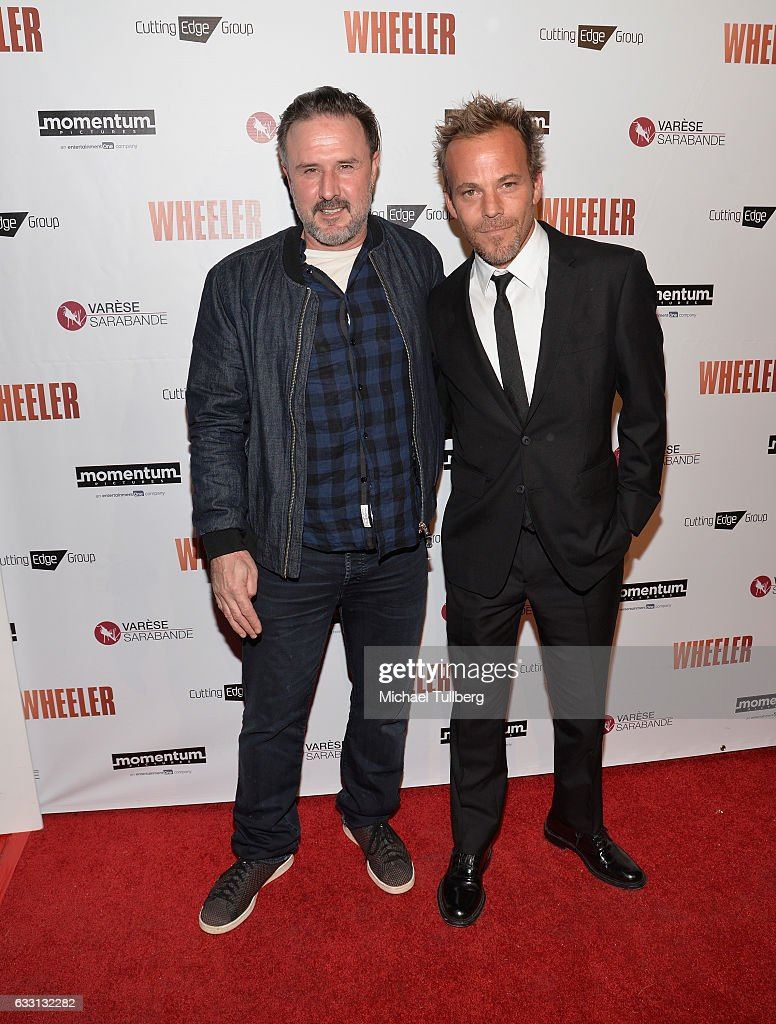 Actors David Arquette and Stephen Dorff attend the premiere of Momentum Pictures' 'Wheeler' at the Vista Theatre on January 30, 2017 in Los Angeles, California.