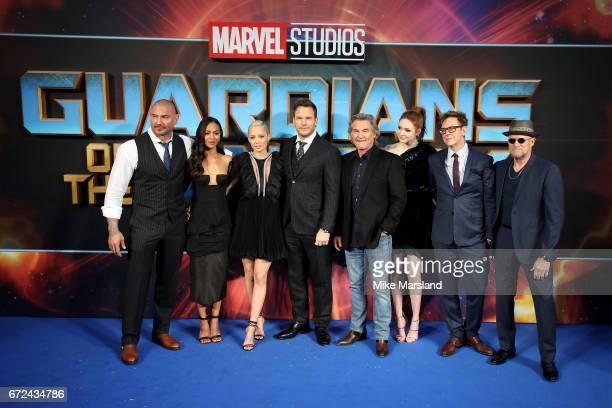 Actors David Bautista Zoe Saldana Pom Klementieff Chris Pratt Kurt Russel Karen Gillan director James Gunn and actor Michael Rooker attend the UK...