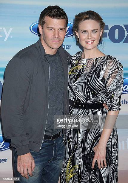 Actors David Boreanaz and Emily Deschanel arrive at the 2014 FOX Fall EcoCasino Party at The Bungalow on September 8 2014 in Santa Monica California