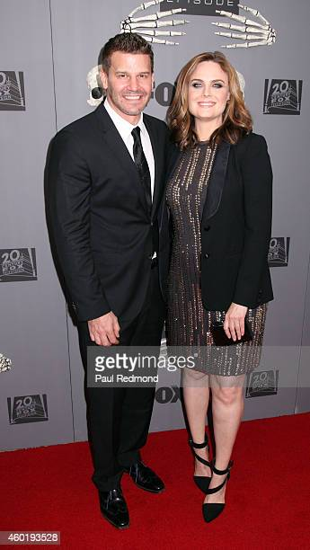 Actors David Boreanaz and Emily Deschanel arriving at Bones 200th Episode Celebration at Herringbone Mondrian LA on December 8 2014 in Beverly Hills...