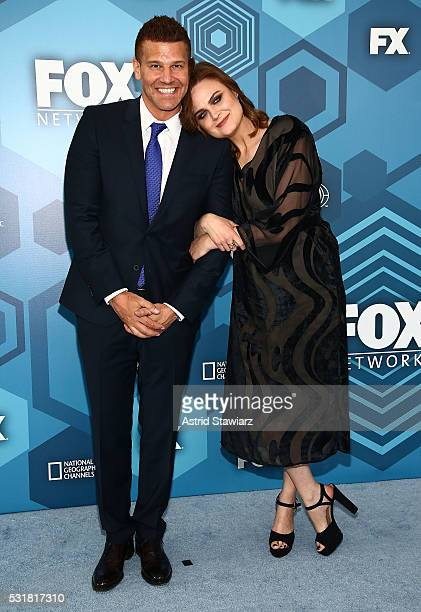 Actors David Boreanaz and Emily Deschanel attend FOX 2016 Upfront Arrivals at Wollman Rink Central Park on May 16 2016 in New York City