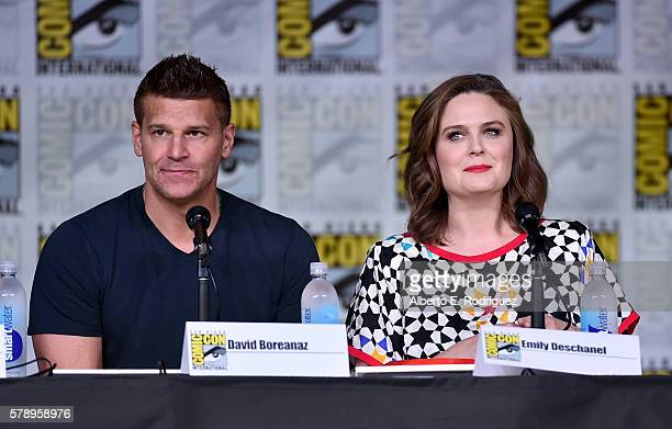 Actors David Boreanaz and Emily Deschanel attend the 'Bones' panel during ComicCon International 2016 at San Diego Convention Center on July 22 2016...