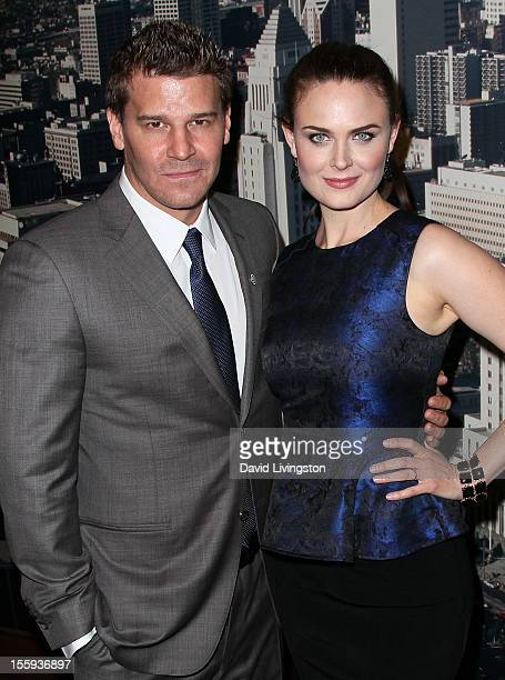 Actors David Boreanaz and Emily Deschanel attend the LA City Council Chambers proclamation ceremony for Fox's 'Bones' at City Hall Council Chambers...