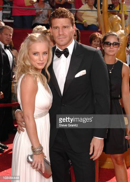 Actors David Boreanaz and Jaime Bergman arrive at the 60th Primetime Emmy Awards at the Nokia Theater on September 21 2008 in Los Angeles California