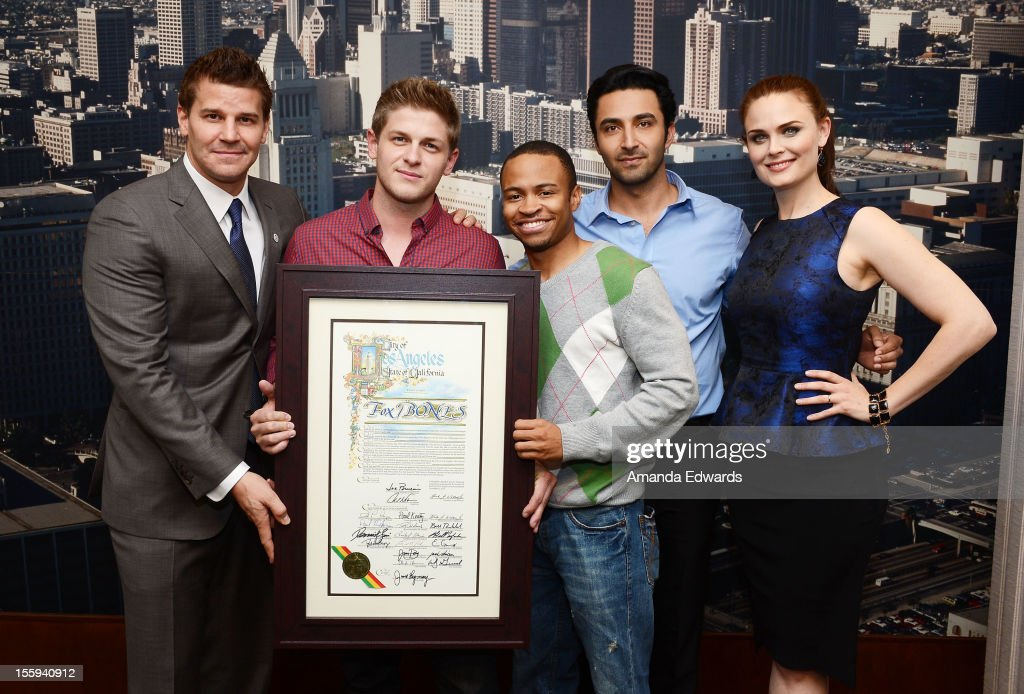 Actors David Boreanaz, Michael Grant Terry, Eugene Byrd, Pej Vahdat and Emily Deschanel attend FOX's 'Bones' City of Los Angeles City Hall Presentation at Los Angeles City Hall on November 9, 2012 in Los Angeles, California.