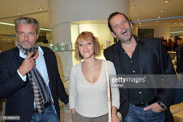 Actors David Brecourt Julia Livage and Christian Vadim attend the Vendanges Montaigne 2012 in the Courreges Shop at Avenue Montaigne on September 11...