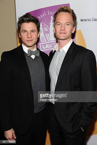 Actors David Burtka and Neil Patrick Harris arrive at the gala opening night of Cinderella a modern musical in the style of a British panto at the El...