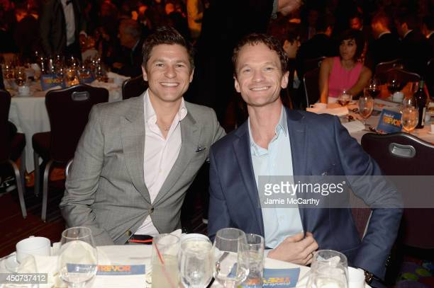Actors David Burtka and Neil Patrick Harris attend the Trevor Project's 2014 'TrevorLIVE NY' Event at the Marriott Marquis Hotel on June 16 2014 in...
