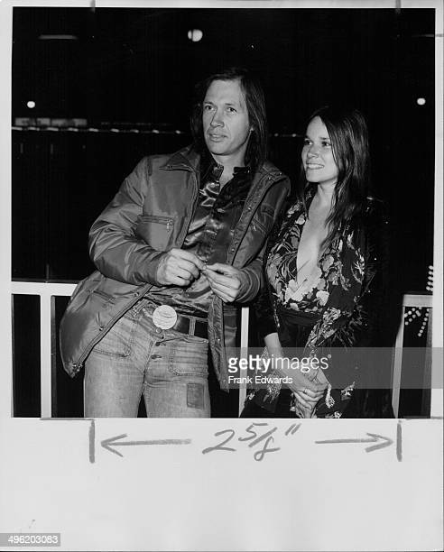 Actors David Carradine and Barbara Hershey Seagull attending a benefit for James Stacy at Century Plaza Hotel Los Angeles March 24th 1974