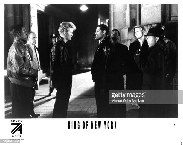 Actors David Caruso and Laurence Fishburne on set of the movie 'King of New York ' circa 1990