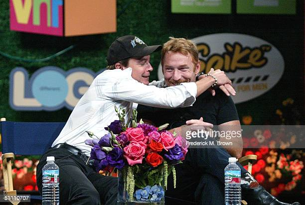 Actors David Cassidy and Danny Bonaduce of In Search of The Partridge Family speak with the press at the TCA Tour Cable at the Century Plaza Hotel on...