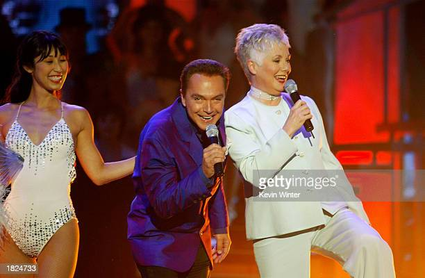 Actors David Cassidy and Shirley Jones perform during the TV Land Awards 2003 at the Hollywood Palladium on March 2 2003 in Hollywood California