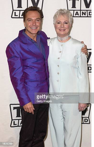 Actors David Cassidy and Shirley Jones pose backstage during the TV Land Awards 2003 at the Hollywood Palladium on March 2 2003 in Hollywood...