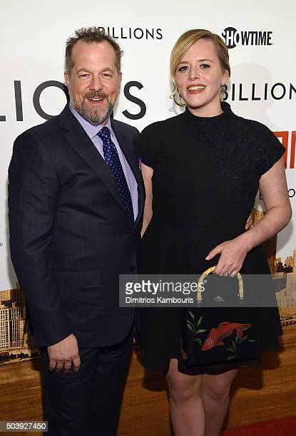 Actors David Costabile and Eliza Baldi attend the Billions Series Premiere at Museum of Modern Art on January 7 2016 in New York City