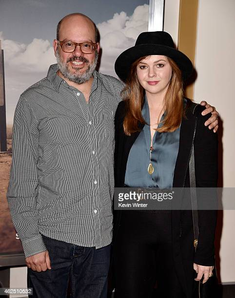Actors David Cross and Amber Tamblyn arrive at the series premiere of AMC's 'Better Call Saul' at the Regal Cinemas LA Live on January 29 2015 in Los...