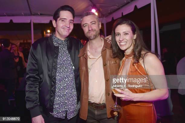 Actors David Dastmalchian and Sean Gunn with Natasha Halevi at the Los Angeles World Premiere of Marvel Studios' BLACK PANTHER at Dolby Theatre on...