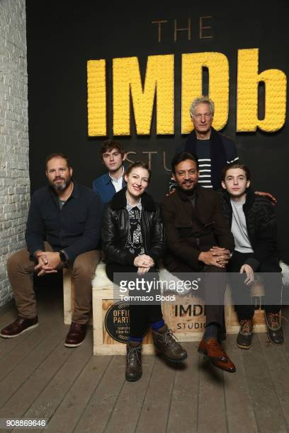 Actors David Denman Bubba Weiler Kelly Macdonald Irrfan Khan director Marc Turtletaub and actor Austin Abrams of 'Puzzle' attend The IMDb Studio and...