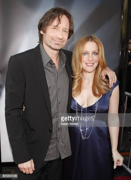 Actors David Duchovny and Gillian Anderson arrive at the world premiere of 20th Century Fox's The XFiles I Want To Believe at the Chinese Theater on...