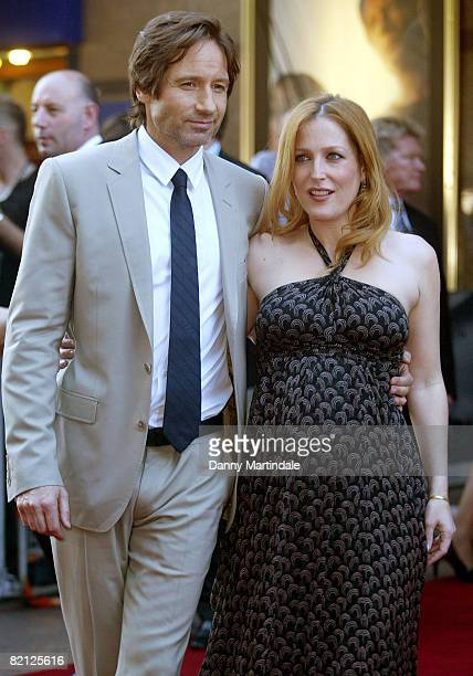 Actors David Duchovny and Gillian Anderson attends The XFiles I Want To Believe film premiere held at the Empire Leicester Square on July 30 2008 in...