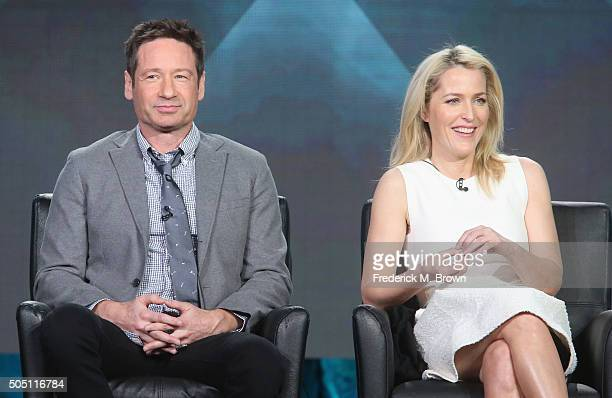 Actors David Duchovny and Gillian Anderson speak onstage during The XFiles panel discussion at the FOX portion of the 2015 Winter TCA Tour at the...