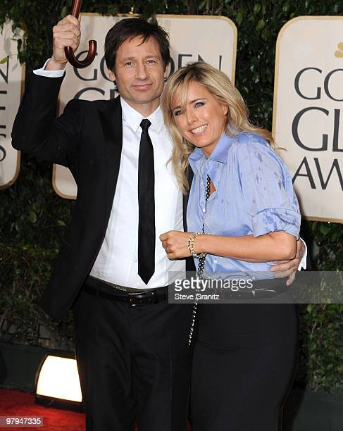 Actors David Duchovny and Tea Leoni attends the 67th Annual Golden Globes Awards at The Beverly Hilton Hotel on January 17 2010 in Beverly Hills...