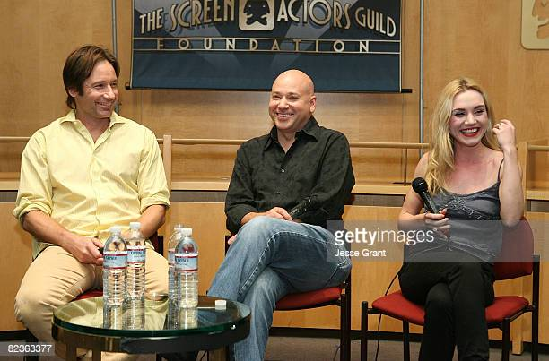 Actors David Duchovny Evan Handler and Rachel Miner at the SAG Foundation Screening of Californication Episode 112 The Last Waltz at the James Cagney...