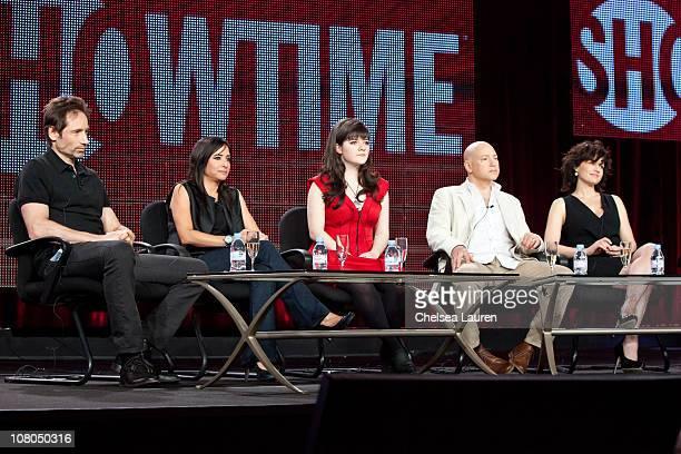 Actors David Duchovny Pamela Adlon Madeleine Martin Evan Handler and Carla Gugino of Californication speak at the 2011 Showtime Winter TCA Panel at...