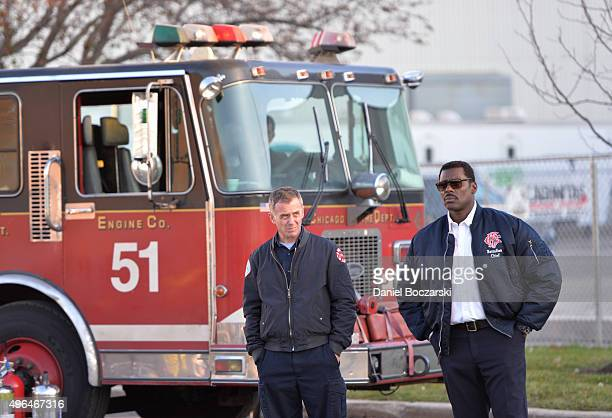 """Actors David Eigenberg and Eamonn Walker at the on set demonstration of """"Chicago Fire"""" during the press junket for NBC's 'Chicago Fire', 'Chicago..."""