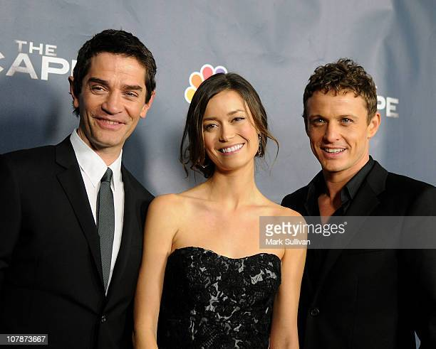 Actors David Frain Summer Glau and David Lyons arrive for NBC's 'The Cape' premiere party at The Music Box @ Fonda on January 4 2011 in Hollywood...