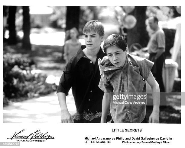 Actors David Gallagher Michael Angarano on the set of the Samuel Goldwyn Films movie 'Little Secrets' circa 2001