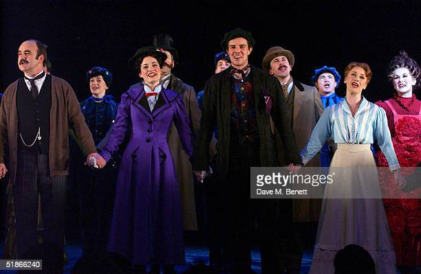 Actors David Haig Laura Michelle Kelly Gavin Lee and Linzi Hateley are seen at the curtain call of the London Premiere and Press Night for the new...