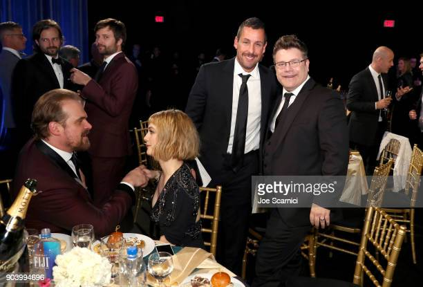 Actors David Harbour Alison Sudol Adam Sandler and Sean Astin attend the 23rd Annual Critics' Choice Awards on January 11 2018 in Santa Monica...