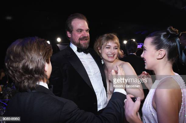 Actors David Harbour Alison Sudol and Millie Bobby Brown during the 24th Annual Screen ActorsGuild Awards at The Shrine Auditorium on January 21...