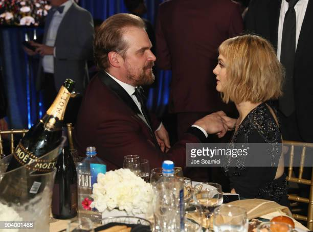 Actors David Harbour and Alison Sudol attend the 23rd Annual Critics' Choice Awards on January 11 2018 in Santa Monica California