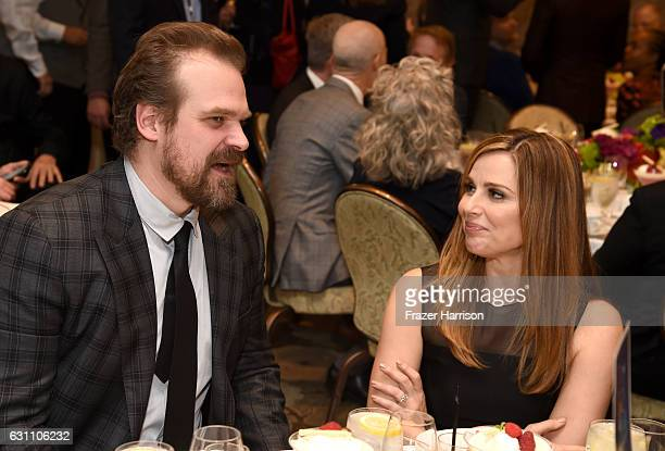 Actors David Harbour and Cara Buono attend the 17th annual AFI Awards at Four Seasons Los Angeles at Beverly Hills on January 6 2017 in Los Angeles...