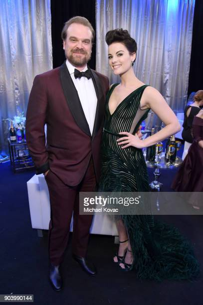 Actors David Harbour and Jaimie Alexander attend Moet Chandon celebrate The 23rd Annual Critics' Choice Awards at Barker Hangar on January 11 2018 in...
