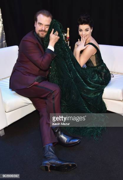 Actors David Harbour and Jaimie Alexander attend The 23rd Annual Critics' Choice Awards at Barker Hangar on January 11 2018 in Santa Monica California