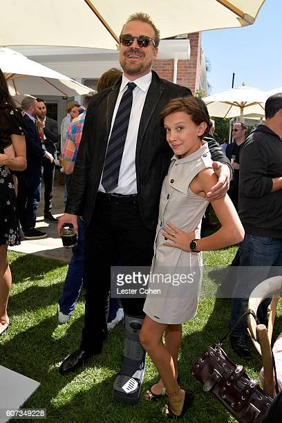 Actors David Harbour and Millie Bobby Brown at the ICM Partners Pre-Emmy Brunch on September 17, 2016 in Santa Monica, California.