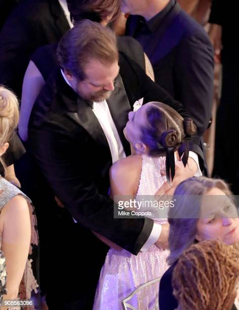 Actors David Harbour and Millie Bobby Brown attend the 24th Annual Screen Actors Guild Awards at The Shrine Auditorium on January 21 2018 in Los...