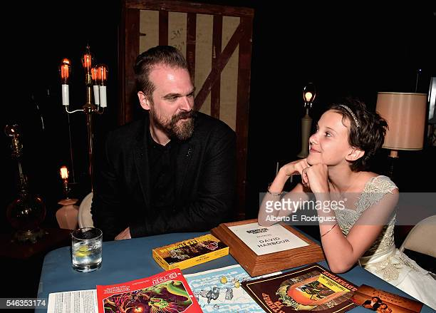 "Actors David Harbour and Millie Brown attend the after party for the premiere of Netflix's ""Stranger Things"" at Mack Sennett Studios on July 11, 2016..."