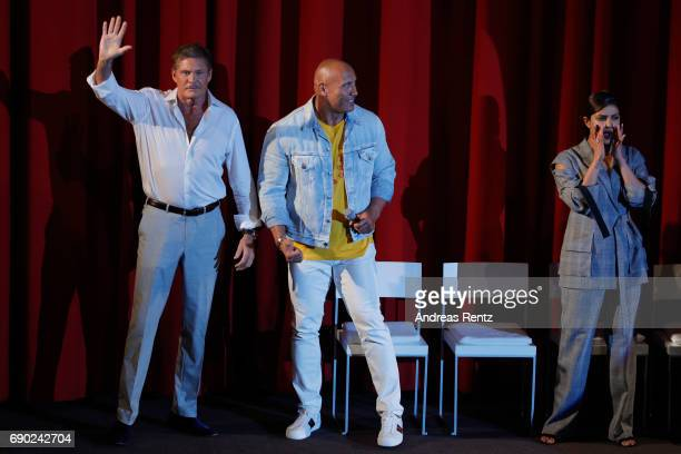 Actors David Hasselhoff Dwayne Johnson and Priyanka Chopra attend the European premiere of 'Baywatch' at Cinestar on May 30 2017 in Berlin Germany