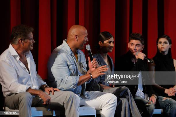Actors David Hasselhoff Dwayne Johnson Priyanka Chopra Zac Efron and Alexandra Daddario attend the European premiere of 'Baywatch' at Cinestar on May...