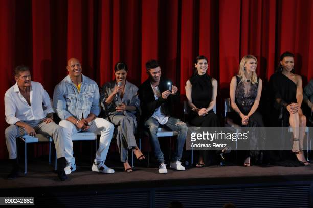 Actors David Hasselhoff Dwayne Johnson Priyanka Chopra Zac Efron Alexandra Daddario Kelly Rohrbach and Ilfenesh Hadera attend the European premiere...