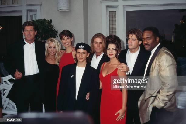 Actors David Hasselhoff Pamela Anderson Alexandra Paul Jeremy Jackson Jaason Simmons Yasmine Bleeth David Charvet and Gregory Alan Williams attend...
